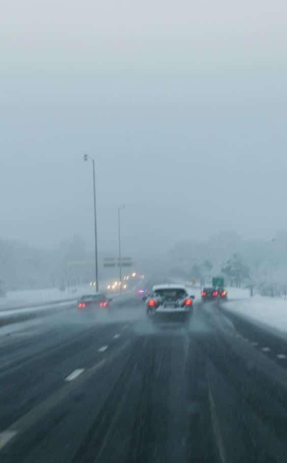 autovia con nieve